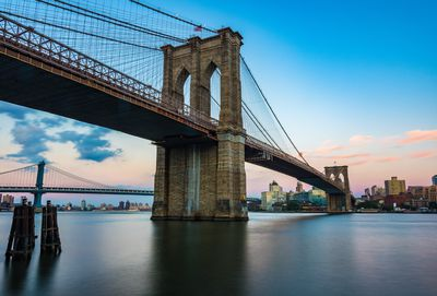 Water view of the Brooklyn Bridge at sunset against a blue sky