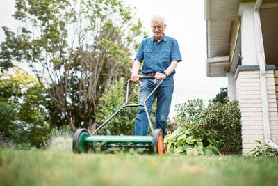 Man using a reel lawn mower