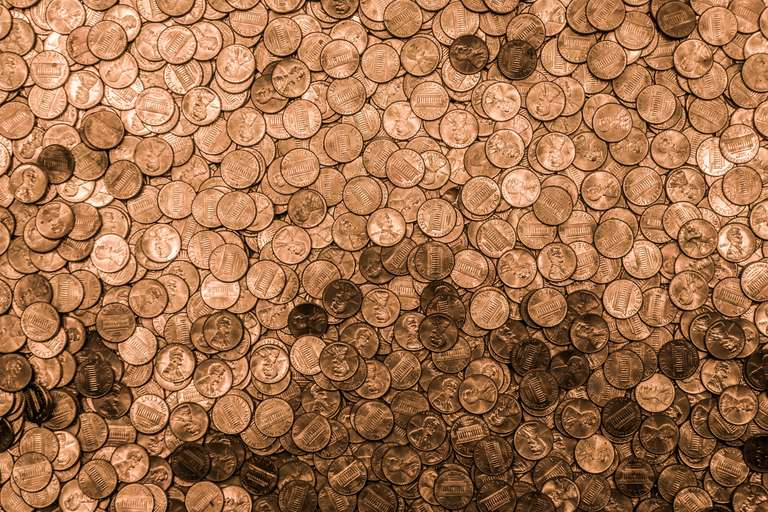 Large pile of pennies