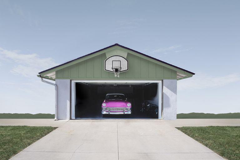 Pink car in a garage