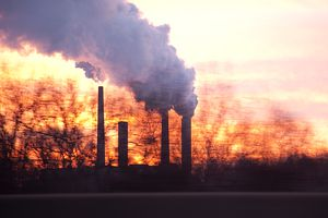 Coal plant smokestacks