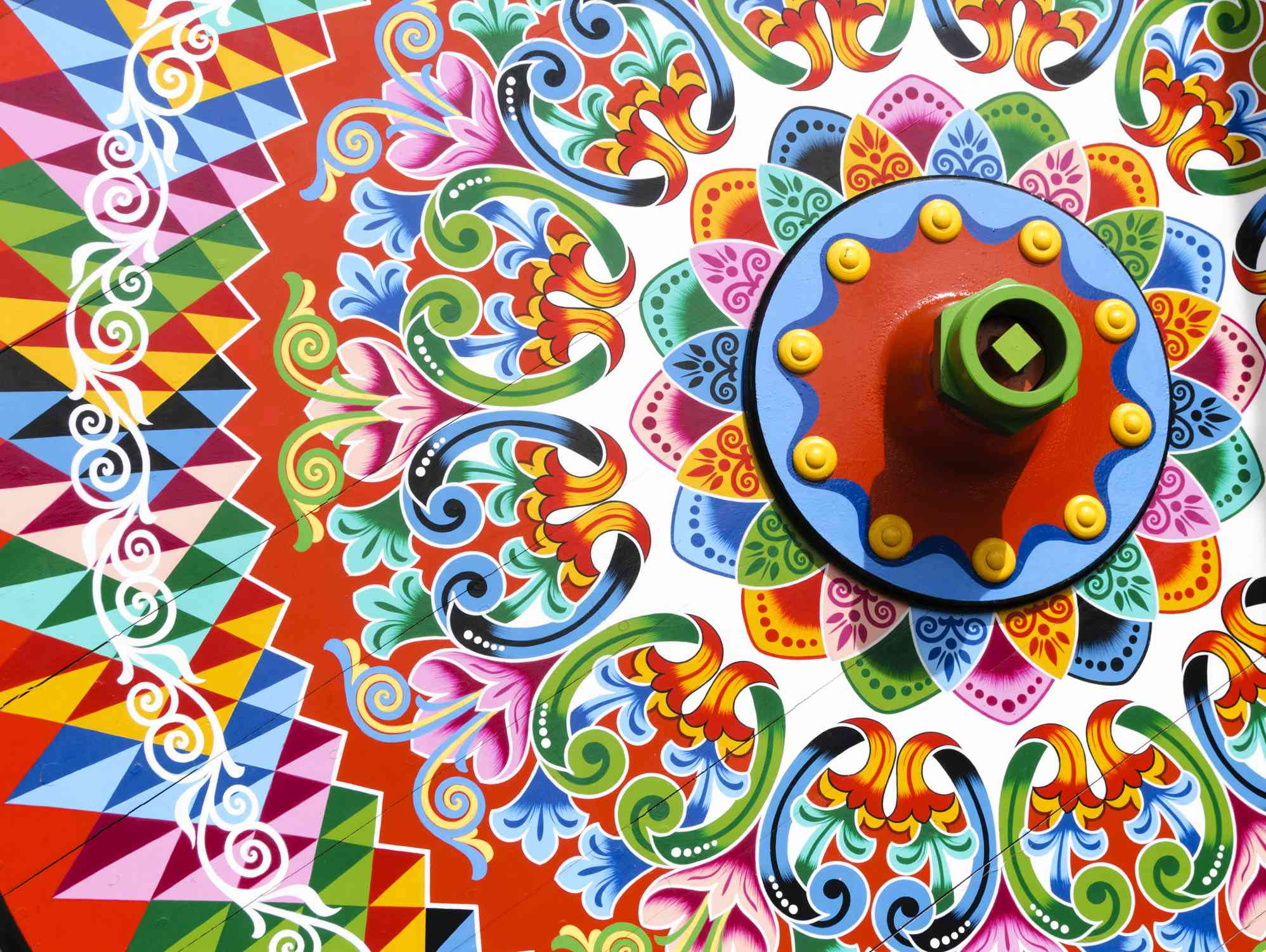 Traditionally painted oxcart wheel in Costa Rica