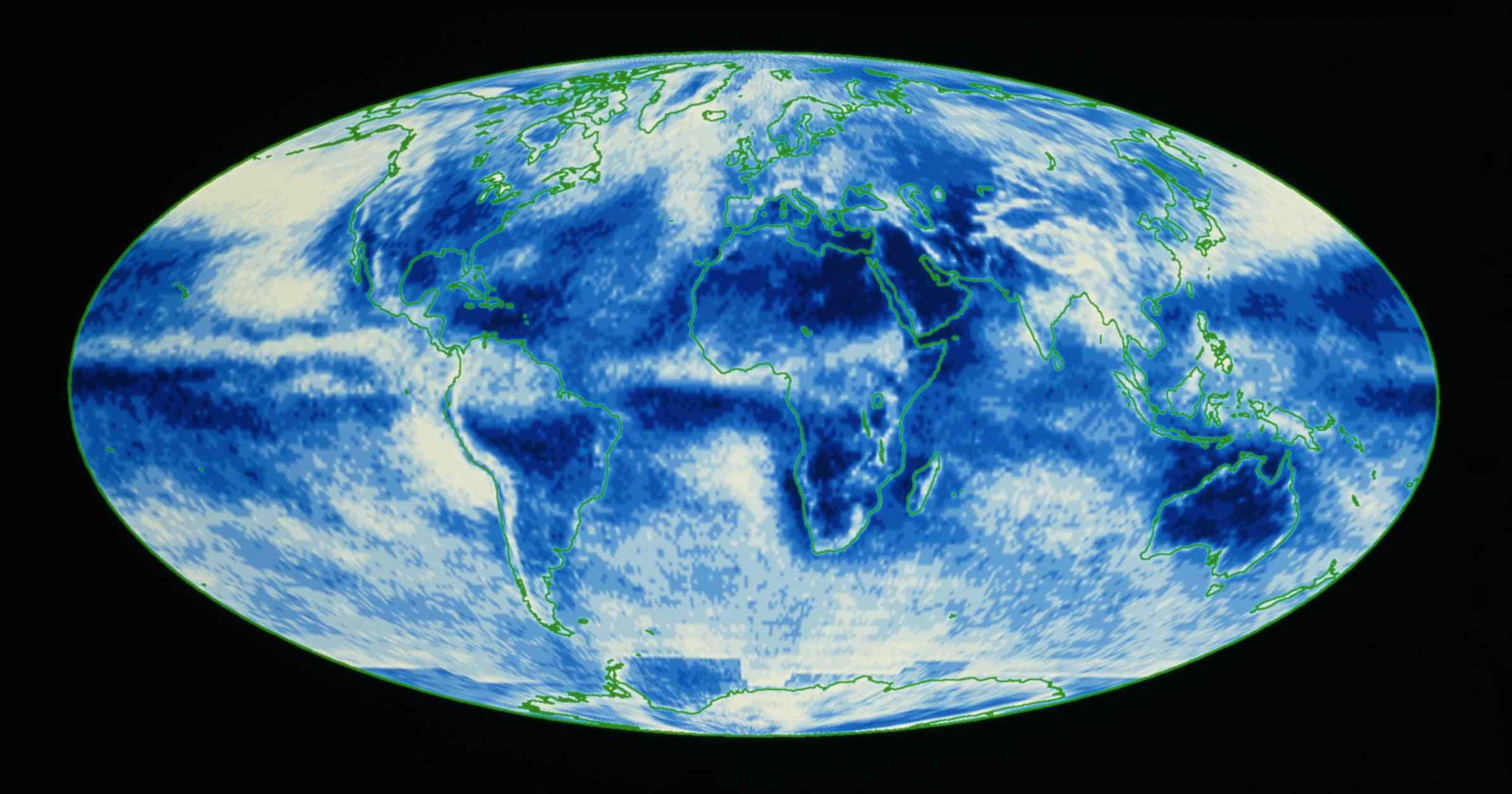 A climate map showing global average cloud cover.