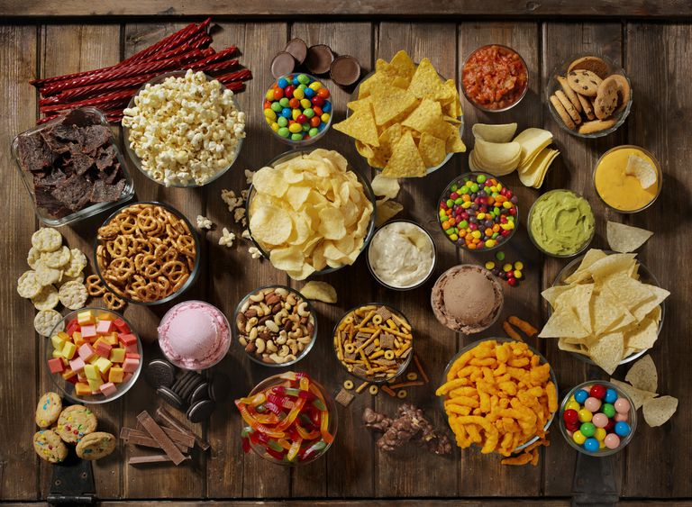 Group of Sweet and Salty Snacks, Perfect for Binge Watching