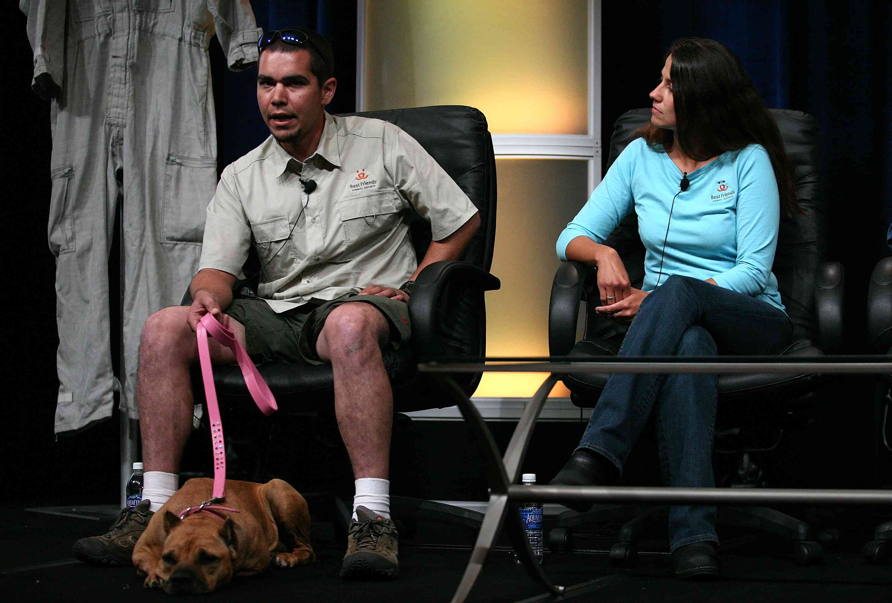 John Garcia of Best Friends Animal Society with a rehabilitated Michael Vick dog named Georgia.