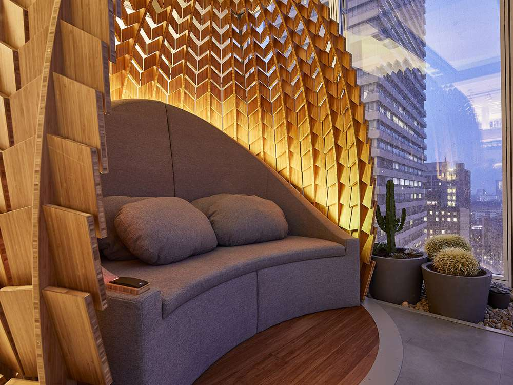 Large chair in a wooden pod