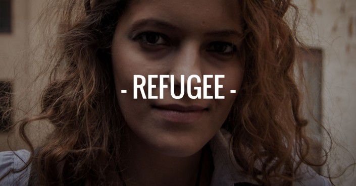 "An image of a woman with the text: ""Refugee"" across the image."