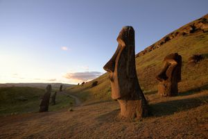 Indigenous monolithic statues on Easter Island, Chile