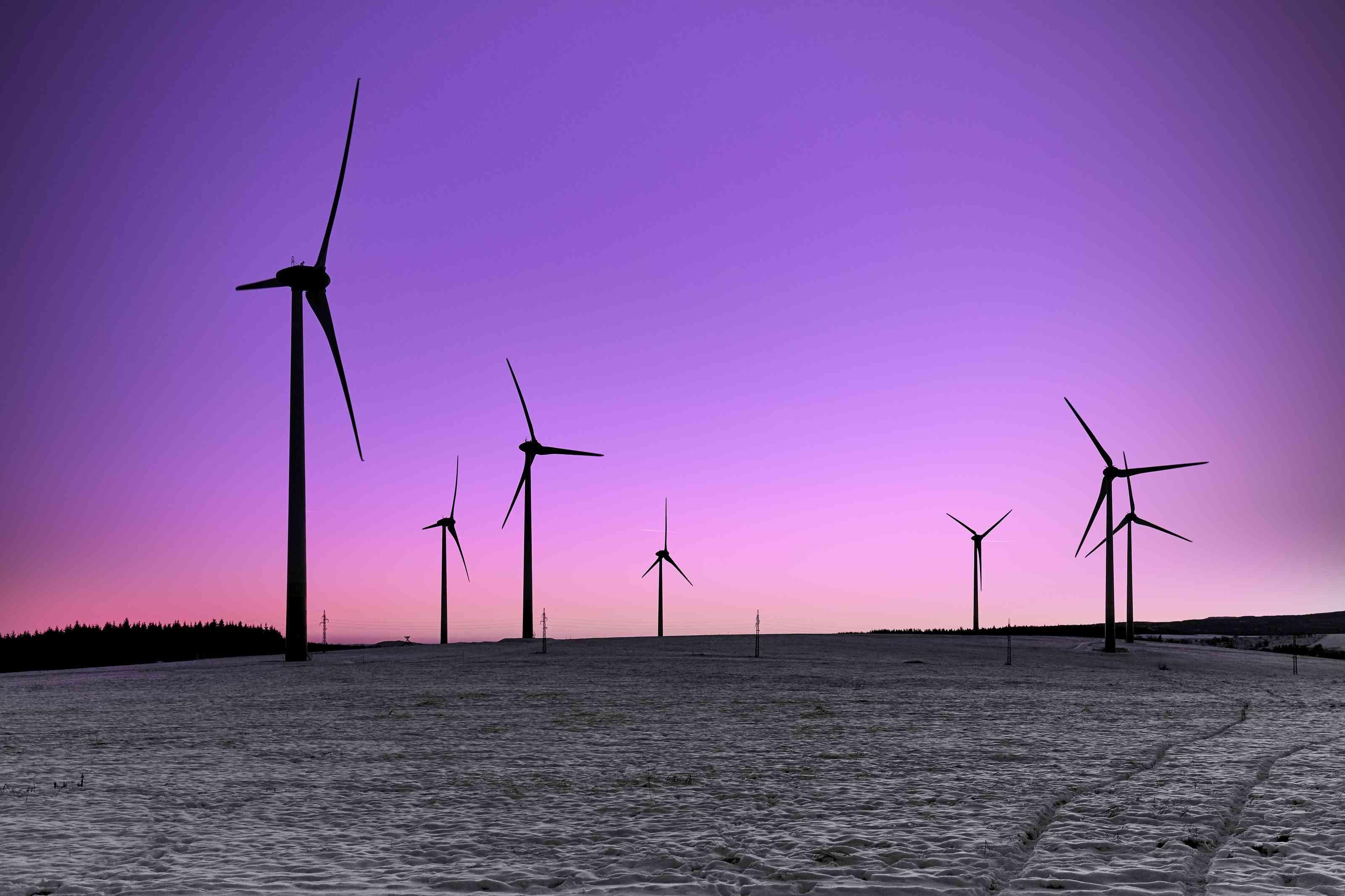 wind turbine silhouettes at twilight