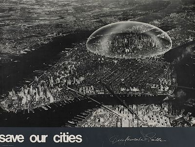 Black and white image of a proposed dome over part of Manhattan