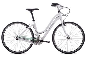 A white stringbike, a chainless bicycle on white background.