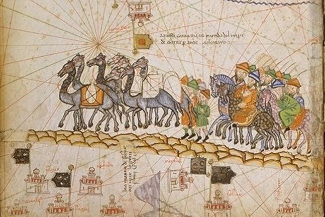 An illustration of a caravan on the Silk Road