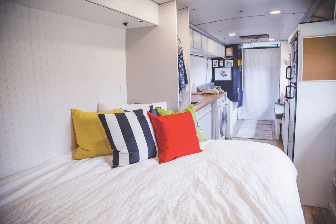 Master bedroom of Manning's bus-home