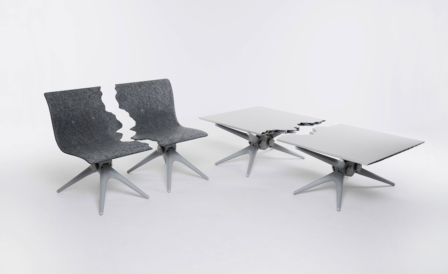 Fractured table and bench by Snarkitecture x Pentatonic