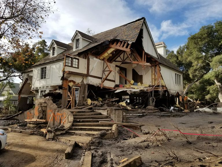 Damage from a major post-wildfire landslide in January 2018 near Montecito, California, as a result of the 2017 Thomas Fire.