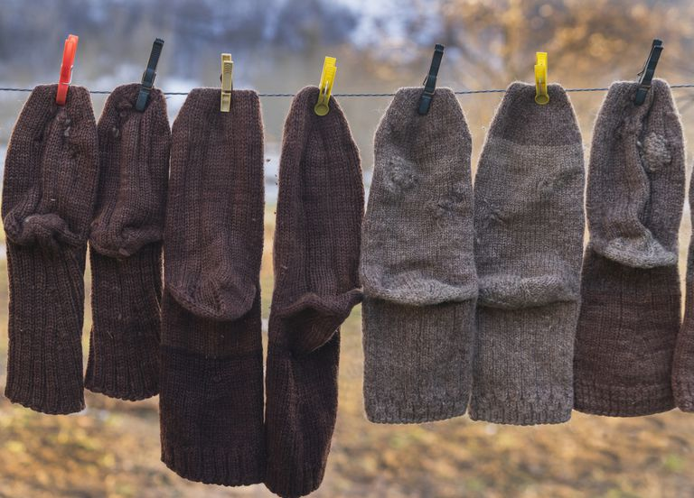 Wool socks hanging on a line