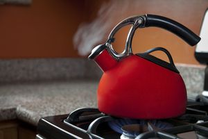 Red Tea Kettle on Stove