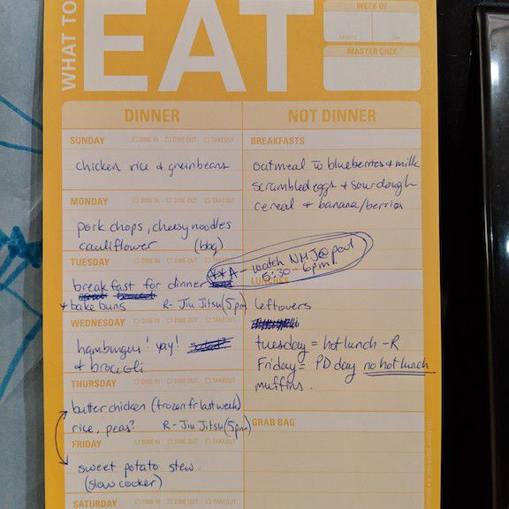 Andrea's menu plan