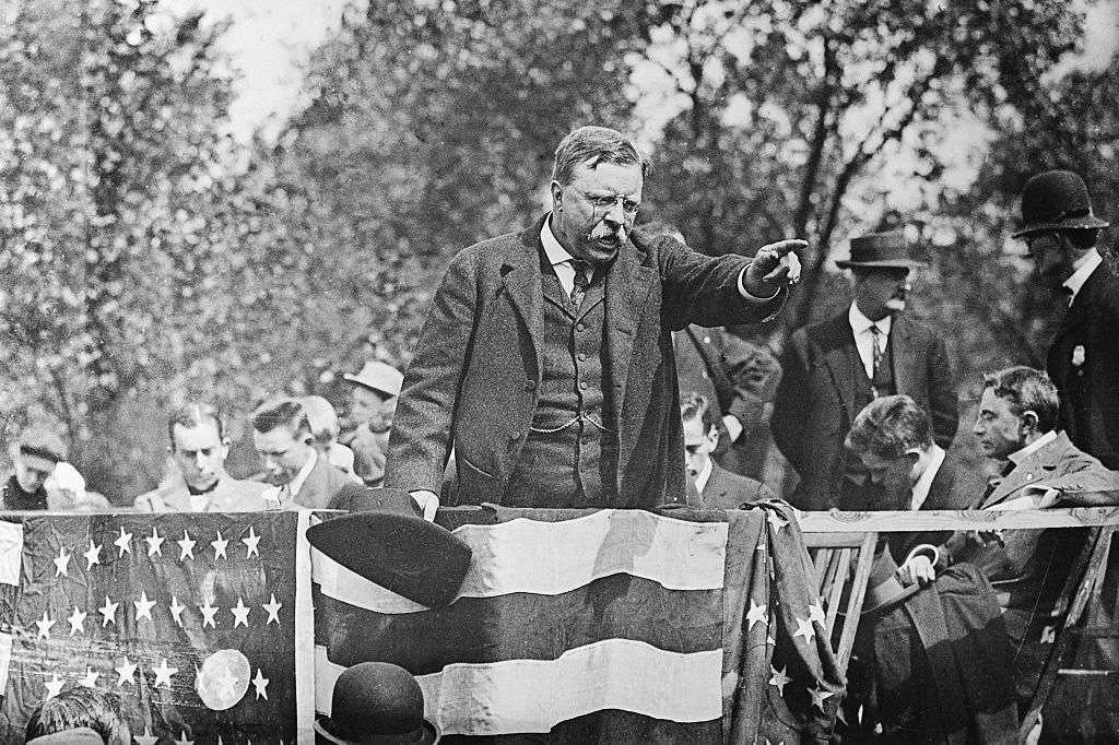 Theodore Roosevelt speaking to a crowd