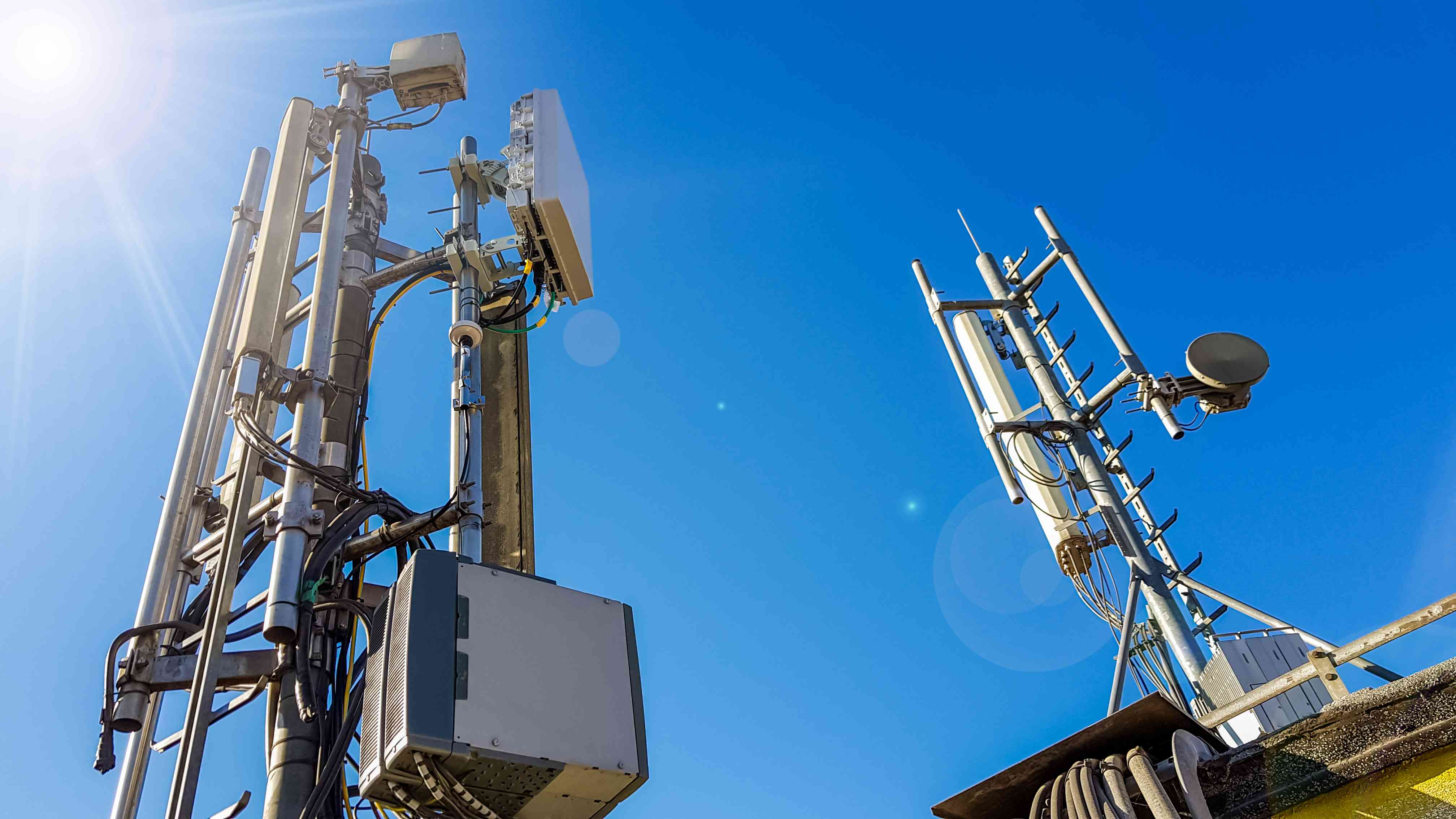 An array of 5G radio transmitters.