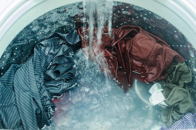 clothes in washing machine