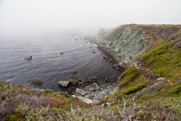 Jade cove in fog. Big Sur, California