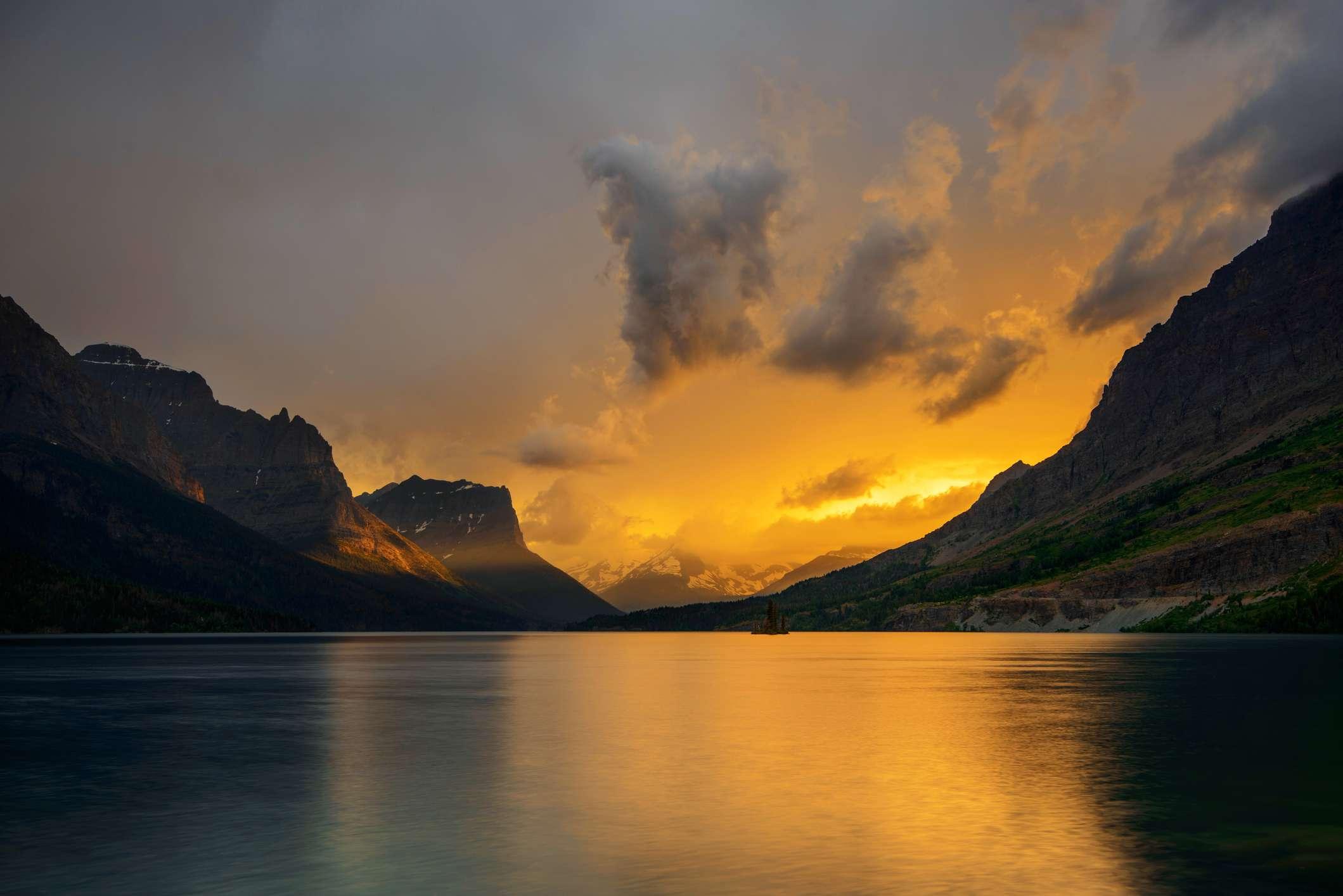 Sunset over Saint Mary Lake, Glacier National Park