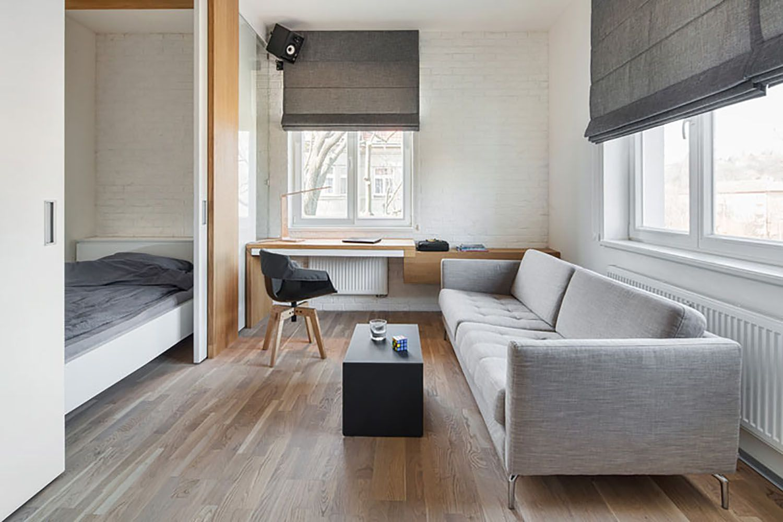 man's lair micro apartment boq architekti living room