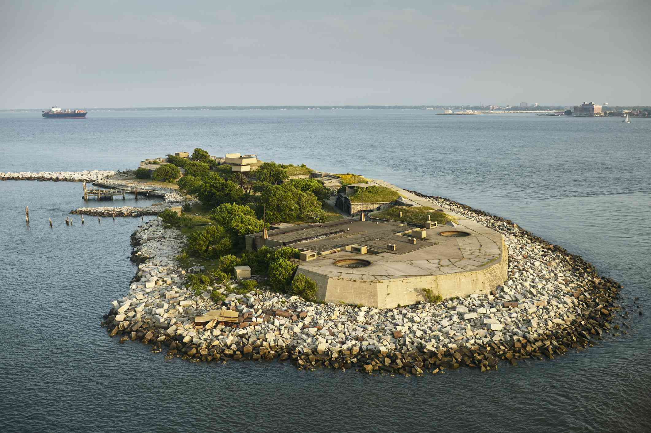 Aerial view of fort on a rocky Chesapeake Bay island