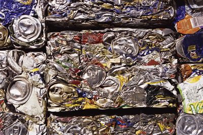 Crushed aluminum cans for recycling