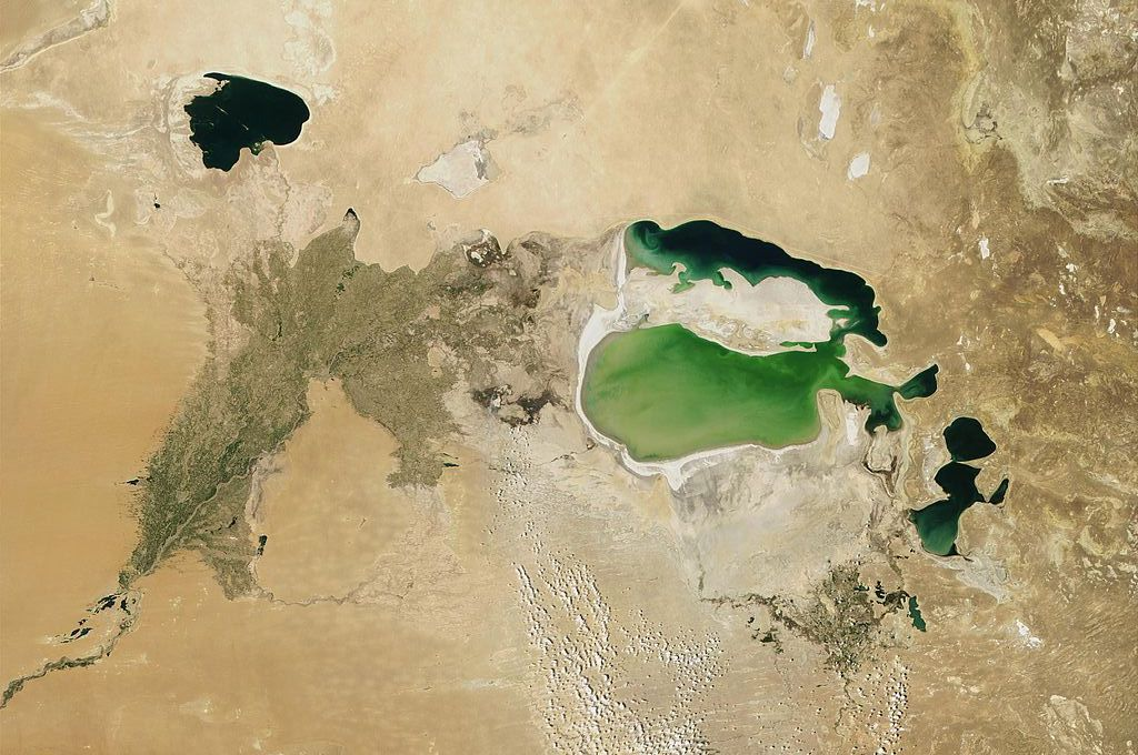 Satellite imagery of the dwindling Aral Sea