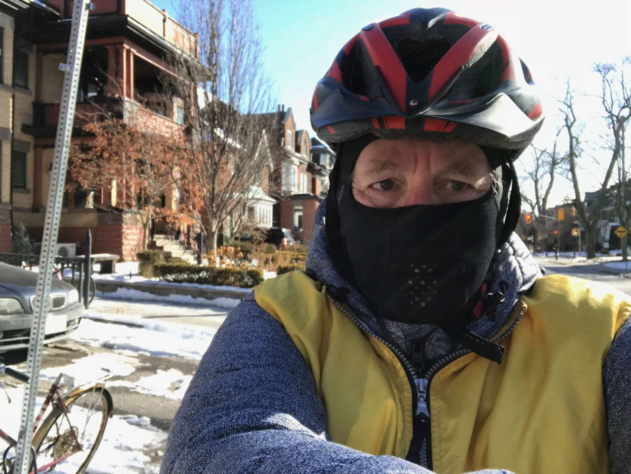 Lloyd Alter riding in winter