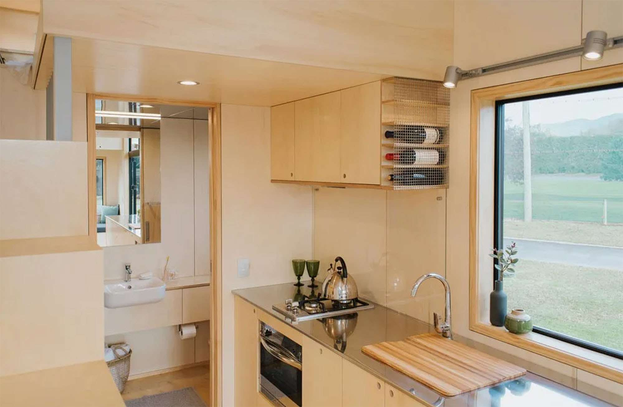 Ohariu tiny house by First Light Studio and Build Tiny kitchen