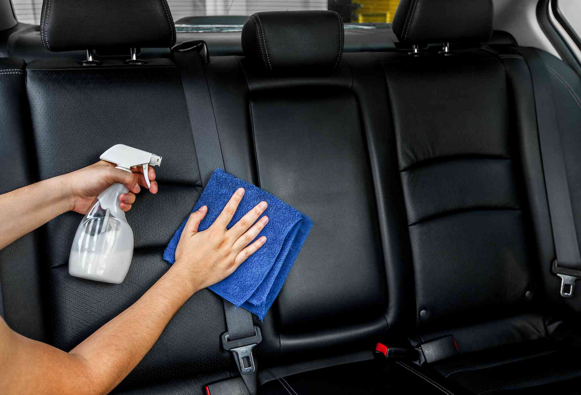 cleaning leather seats in car