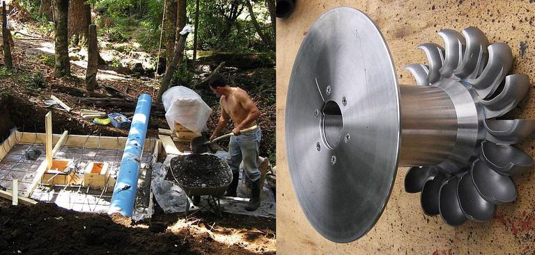 man powers home from local stream, diy