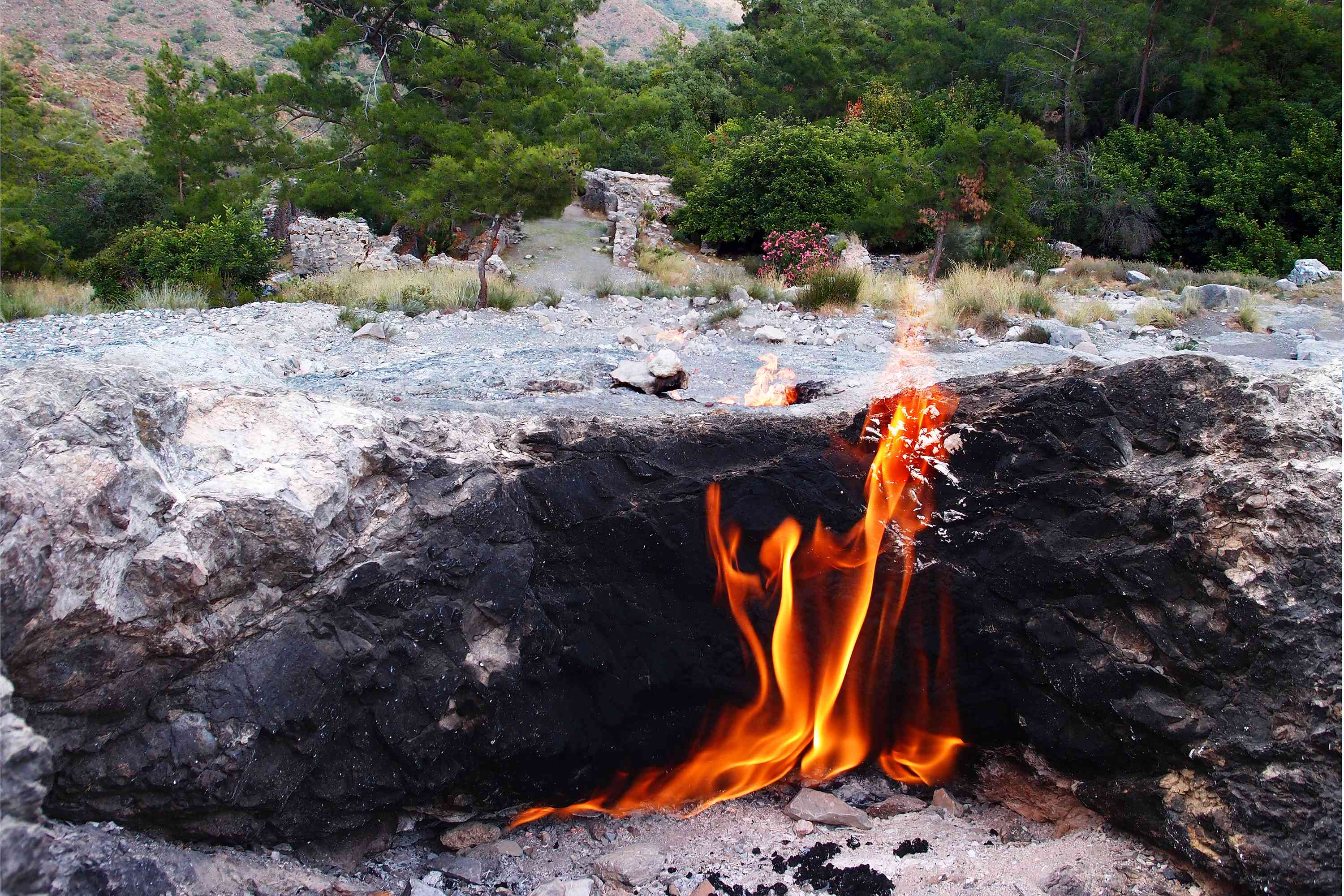 A coal fire burning in the ground in Turkey.