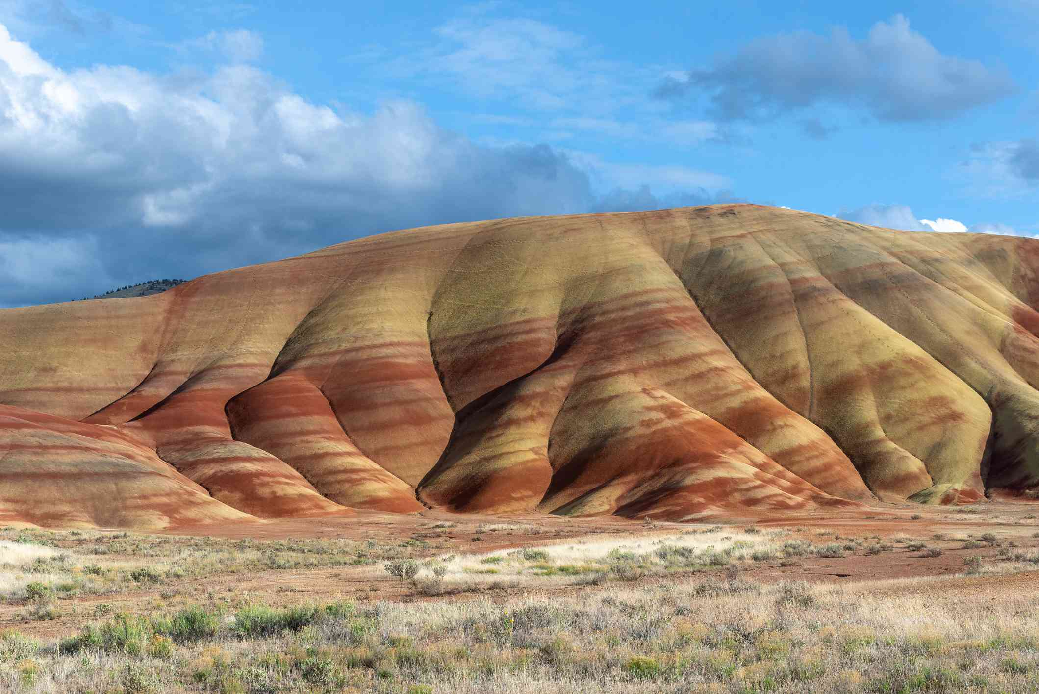 A hill in Oregon's high desert with yellow and red striations