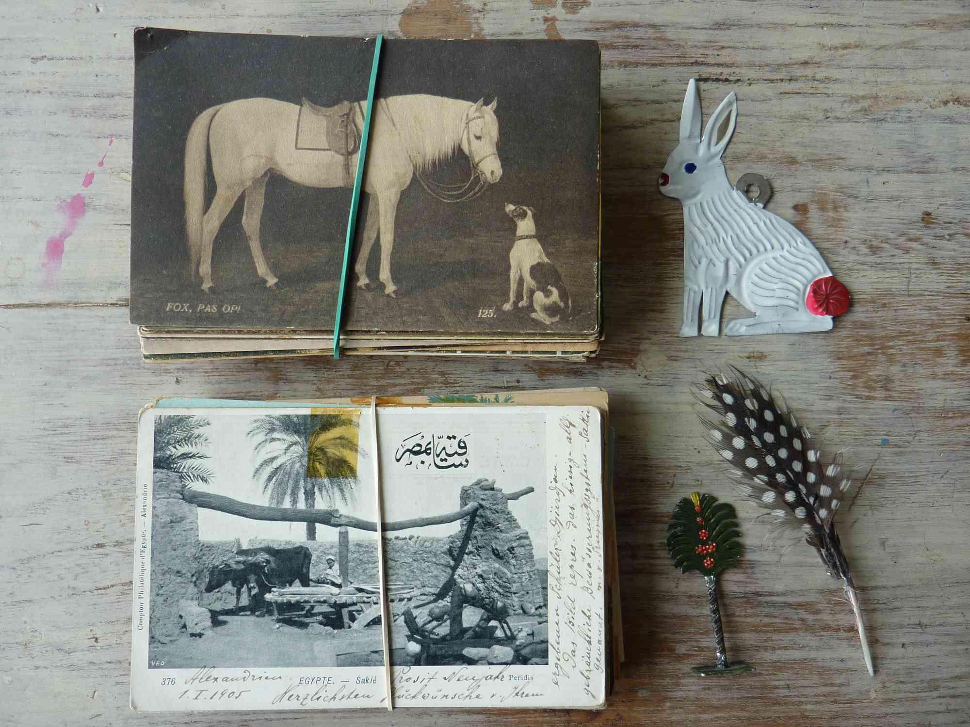 Rubber bands around vintage postcards