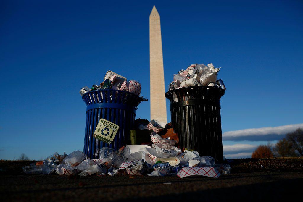 garbage at Washington Monument