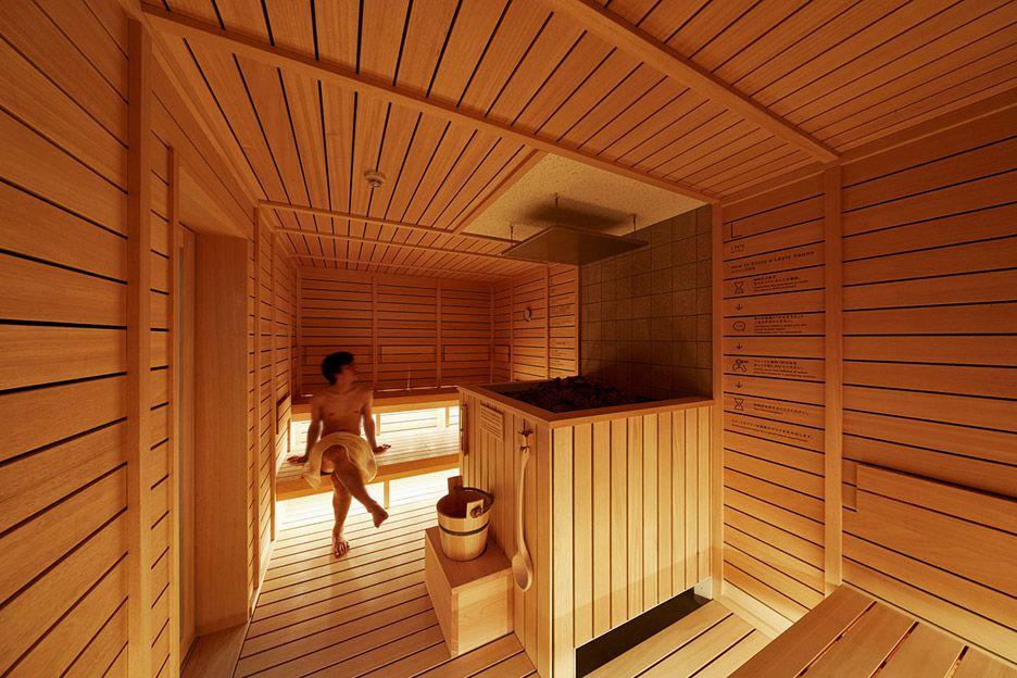 sauna in capsule hotel