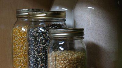 Mason jars holding kernels