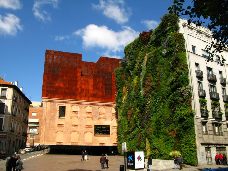 The plant wall of the Caixa Forum building in Madrid Spain.