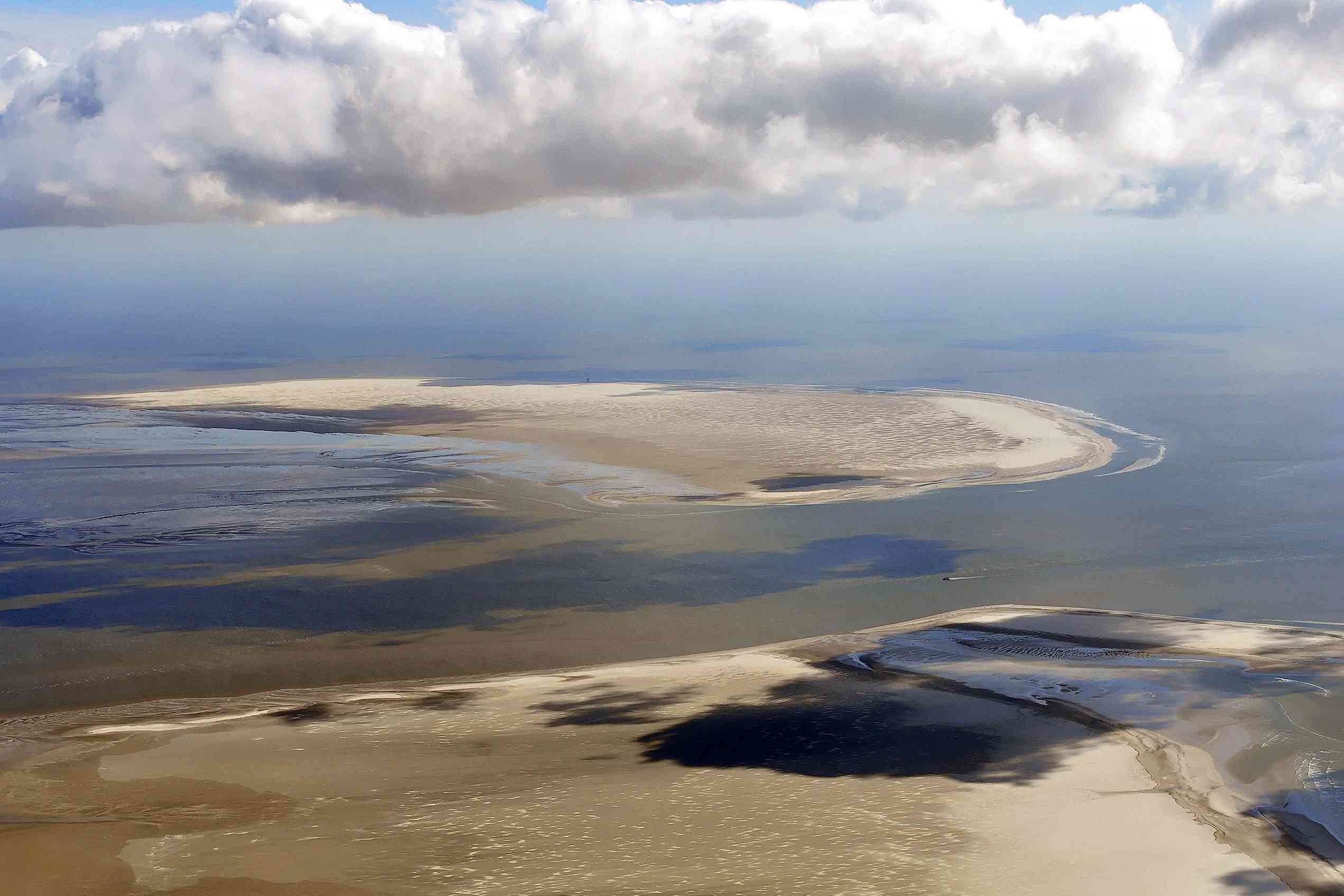 Aerial view of sand island off the coast of Germany