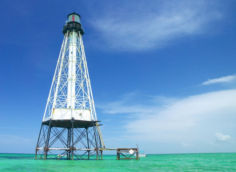 A lighthouse off of the Florida coast