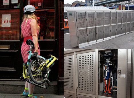 composit of woman carrying fold-up rental bike and a bike in a locker