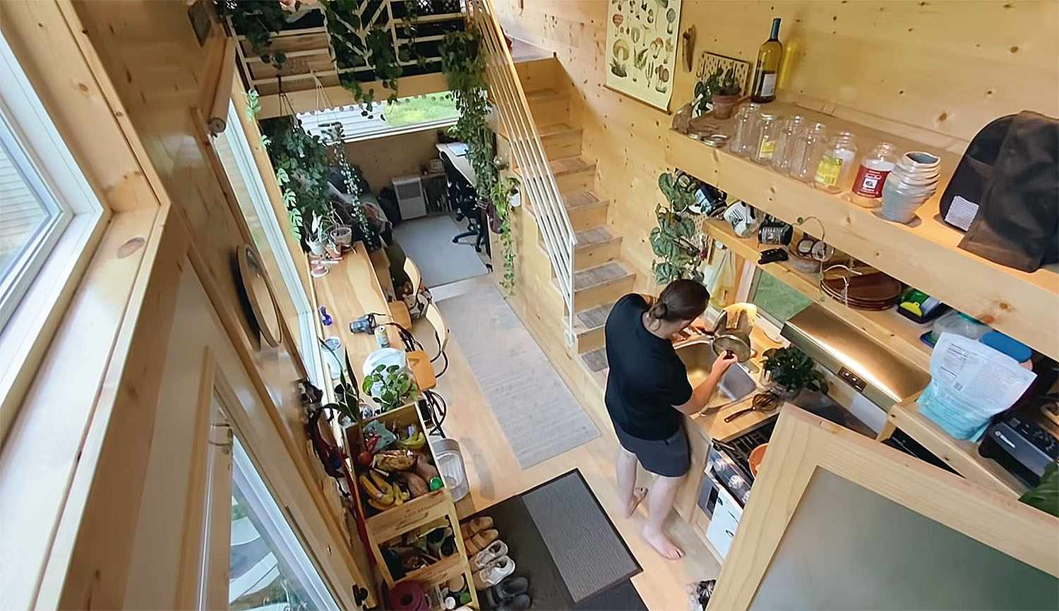 tiny house with houseplants stairs