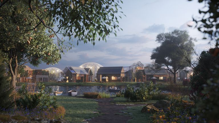Rendering of an eco-village with trees and plants in the foreground