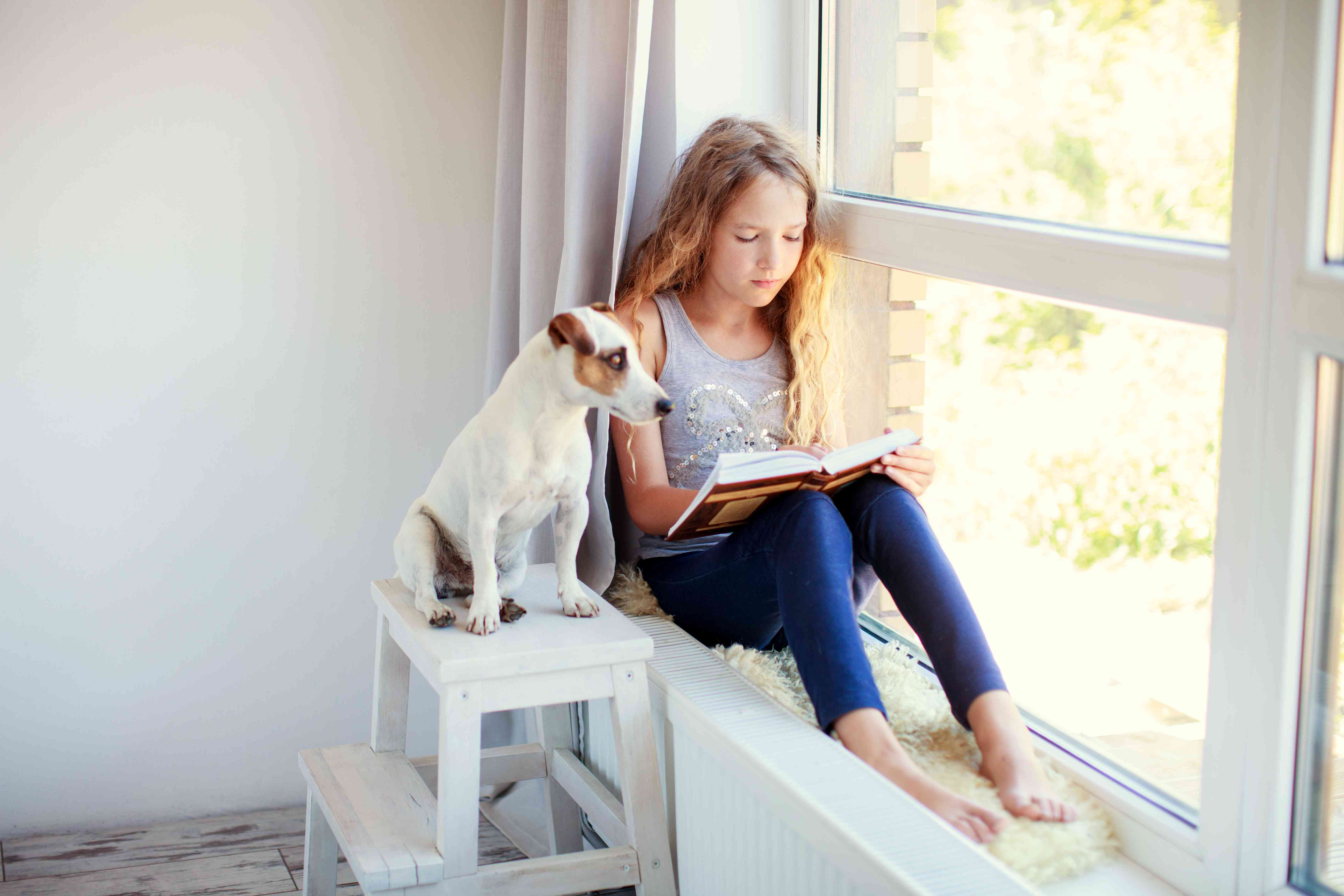 Girl reading a book in the window with her dog