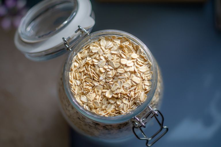 Oats in an open glass jar