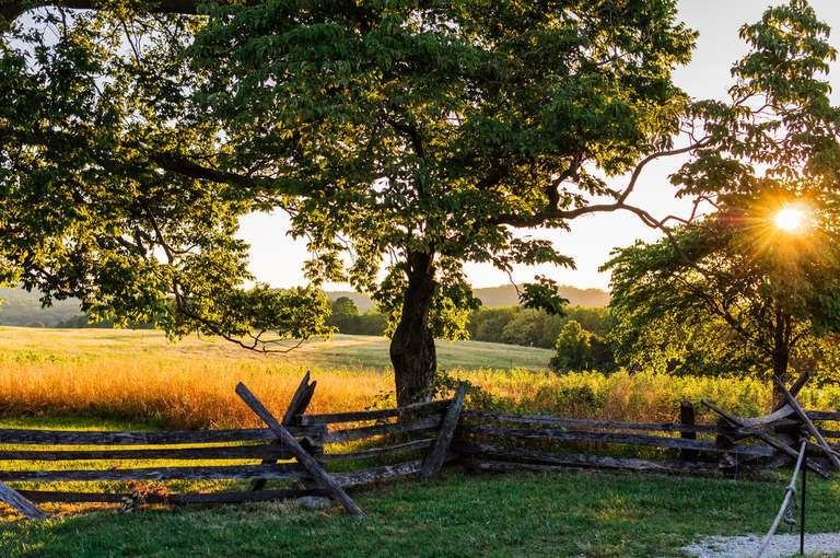 Valley Forge National Park at sunset